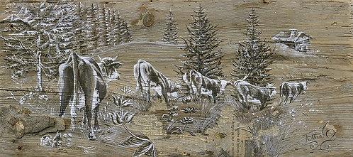 La gentianne : tableau peinture sur bois. Artiste peintre Haute-Savoie