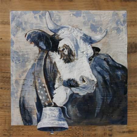 Fidèle GRISE : poster peinture de vaches recollé sur support rigide
