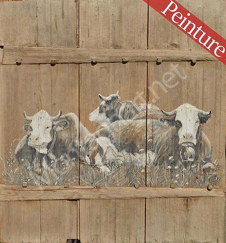 Veille porte de grange Vaches qui chôment : 110x114 cm