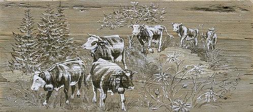 La centaurée : poster de tableau peinture sur bois. Artiste peintre Haute-Savoie