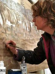 Réalisation d'une grande fresque sur bois pour un hotel de Morzine
