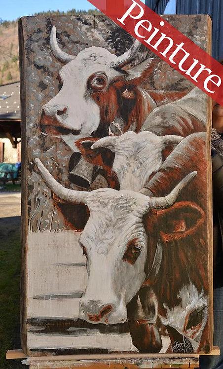 L'appel des sommets vaches race Abondance : 97 x 58 cm