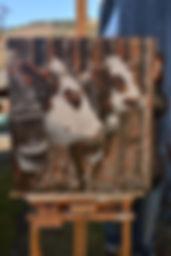 Portrait vache race Abondance peit sur plateau de bois