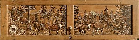 Poya de vache sur porte de placard. Tons bois et crème pour cette superbe oeuvre.