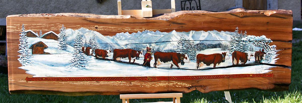 planche de poirrier poya hiver peinte directement.