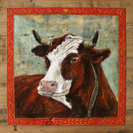 La cabocharde : poster peintue vaches. Ambiance chalet.