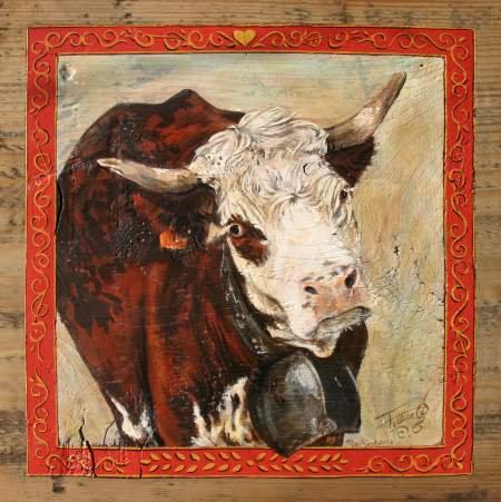 Poupette : poster peintue vaches. Ambiance chalet.