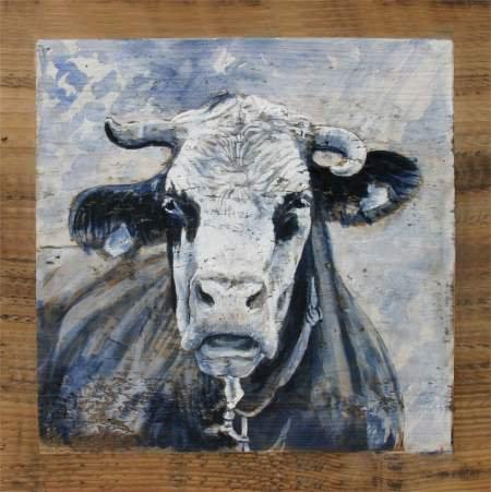 Gavroche GRISE : poster peinture de vaches recollé sur support rigide