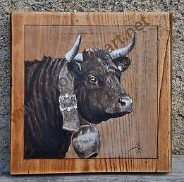 NON DISPONIBLE : tableau peinture portrait de vache