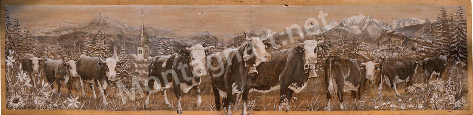 Peinture sur mesure avec chalet familial