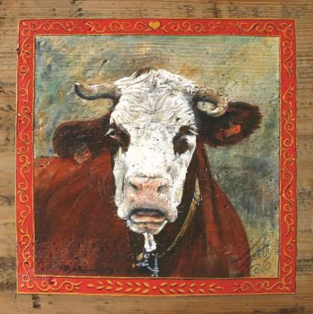 La Gavroche : poster peinture de vaches. Ambiance campagnarde.