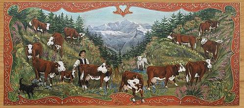 Noir et Blanc : poya peinture tradition Suisse. Repro encadrée épicéa brossé.