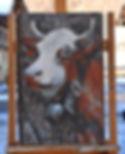 Chatelaine tableau peinture portrait de vache. Peinture fine peinture artistique Haute-Savoie.