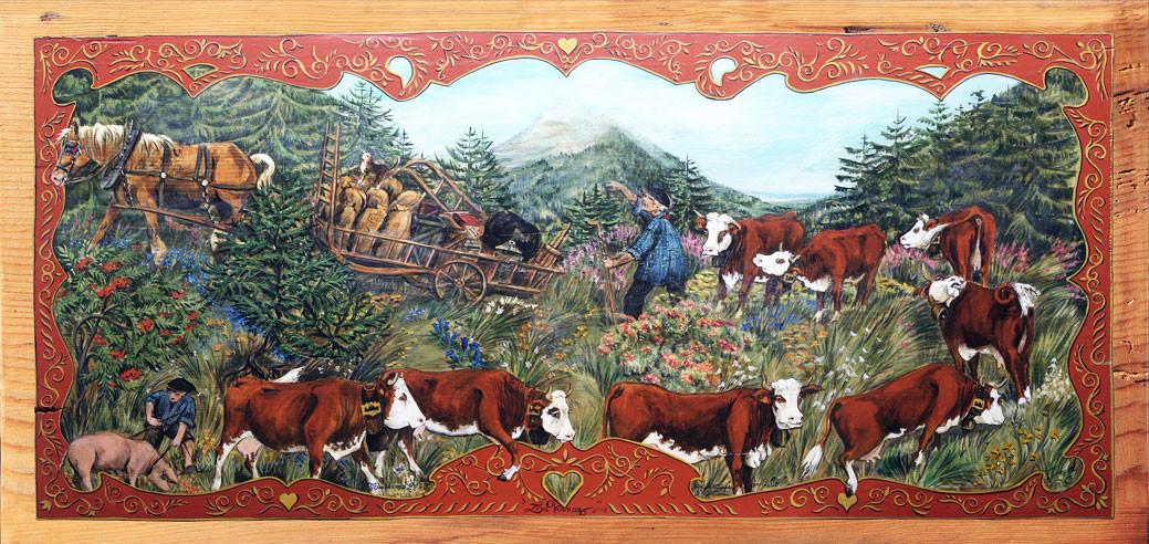 Le cheval et le char devant, cochon en dernier.
