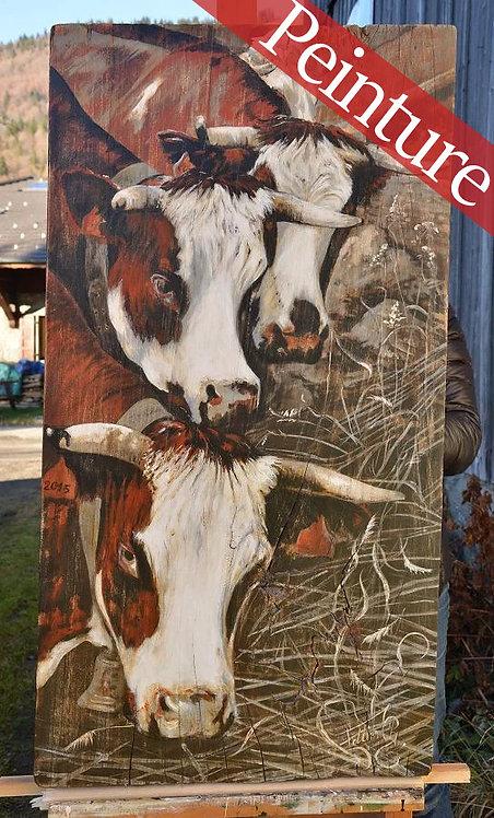 Chevauchée : peinture vaches races Abondance : 98 x 52,5 cm