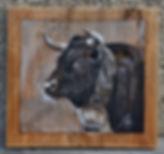 Justine peinture portrait de vche race Hérens.