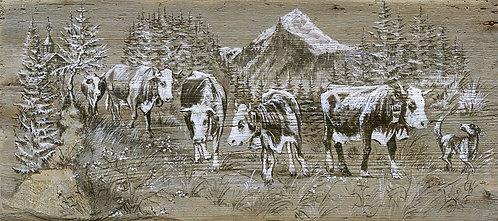 Loulette : affiche reproduction peinture sur bois. Tableau décoration murale