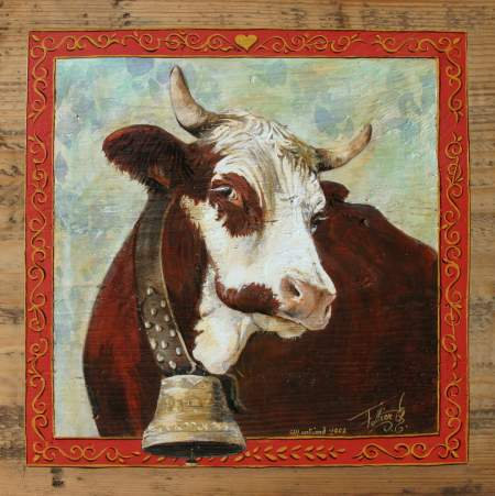 Fidèle : repro peintue vaches. Ambiance montagne chalet et alpage.