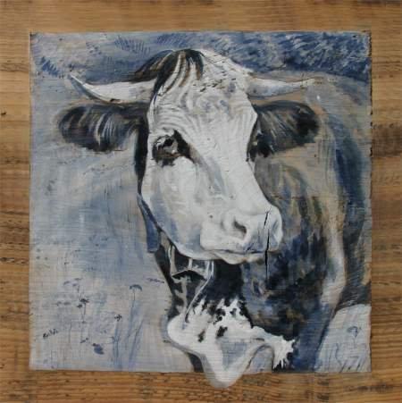 Medinette GRISE : poster peinture de vaches. recollé sur supportb rigide.