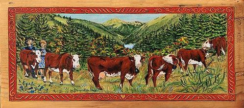 J. des granges et sa douce : peinture naive Savoie montagne Alpes.