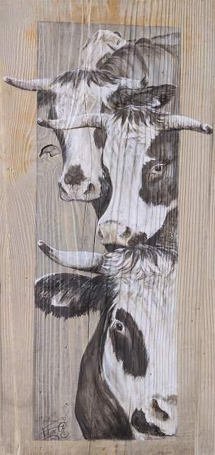 Les triplettes : portrait de 3 vaches. Poster sur bois avec ou sans cadre.