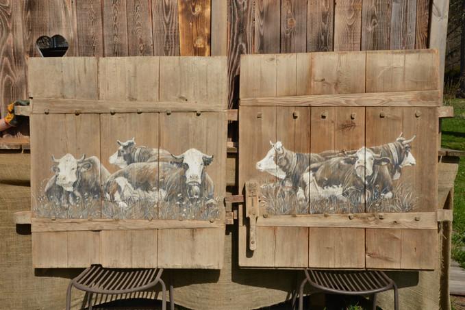 Portes 1889 peinture sur vieux bois