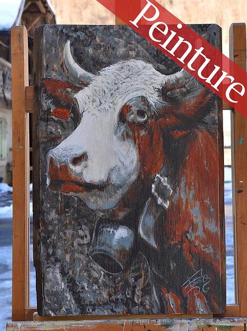 Chatelaine : peinture vaches races Abondance : 57,5 x 39 cm