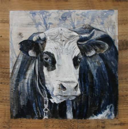 La Bourrue GRISE : poster peinture de vaches recollé sur support rigide