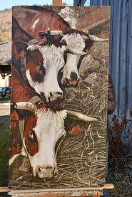 Chevauchée : peinture acrylique sur bois. Artiste peintre Haut-Savoie