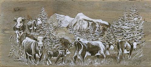 Virage sous Réssachau : affiche repro peinture sur bois. Poya Suisse image.
