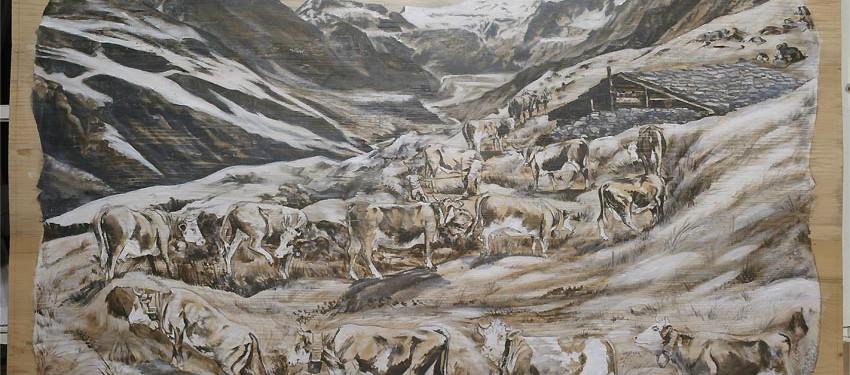 Les glaciers de Cran Montanna en cour de réalisation