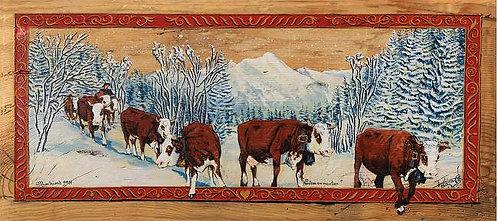 Nantau en manteau : poya montagne des Alpes, vaches abondances repro.