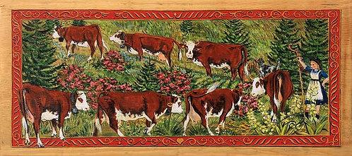 Léa bergère : poya peinture Suisse. Poster sur bois ou papier.