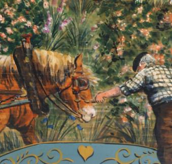 Détails du cheval peint sur bois