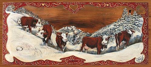 Montriond Roc d'Enfer : peinture decorative Savoie Suisse encadrement bois bross