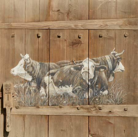 Porte 1889 poignée : poster peinture de vaches recollé sur support rigide