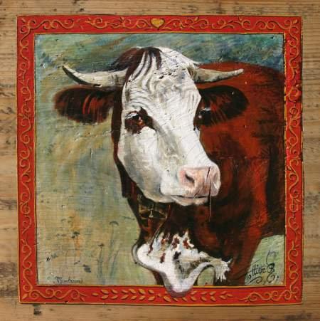 Medinette : poster peinture de vaches. Ambiance chalet montagne.