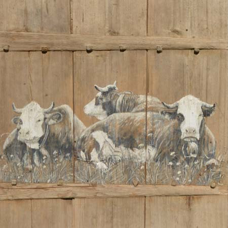 Porte 1889 : poster peinture de vaches recollé sur support rigide