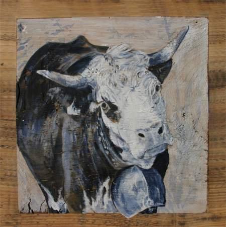 Poupette GRISE : poster peinture de vaches recollé sur support rigide