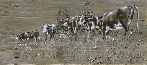 Les Ancolies : poster repro tableau peinture sur bois. Décoration chalet