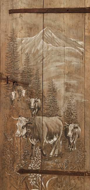 La porte du Mont de Grange : montagne vaches. Poster affiche sur bois.