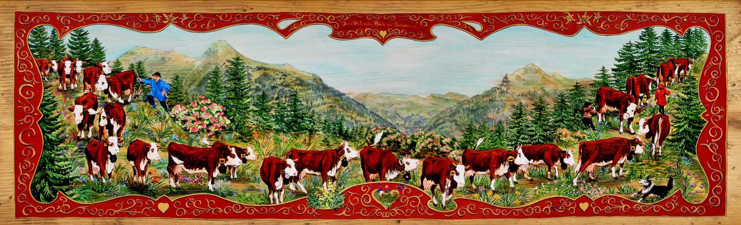 Magnifique poya style Suisse. Montagne des Alpes du Nord.