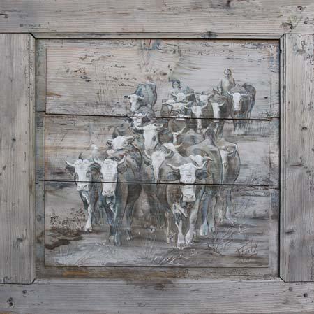 Porte 3 grise : image de peinture laminée sur support rigide mdf ou