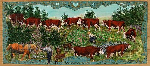 Pétale de rose : poya avec char et cheval. Peinture sur bois décoration