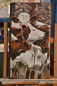 Coeur d'adolescent peinture directe sur bois acrylique