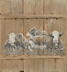 Porte vieux bois 1889, peinture sur vieille porte sans clous ni vis toute chevillée bois