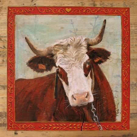 Madeleine : poster peinture de vaches. Ambiance chalet montagne.