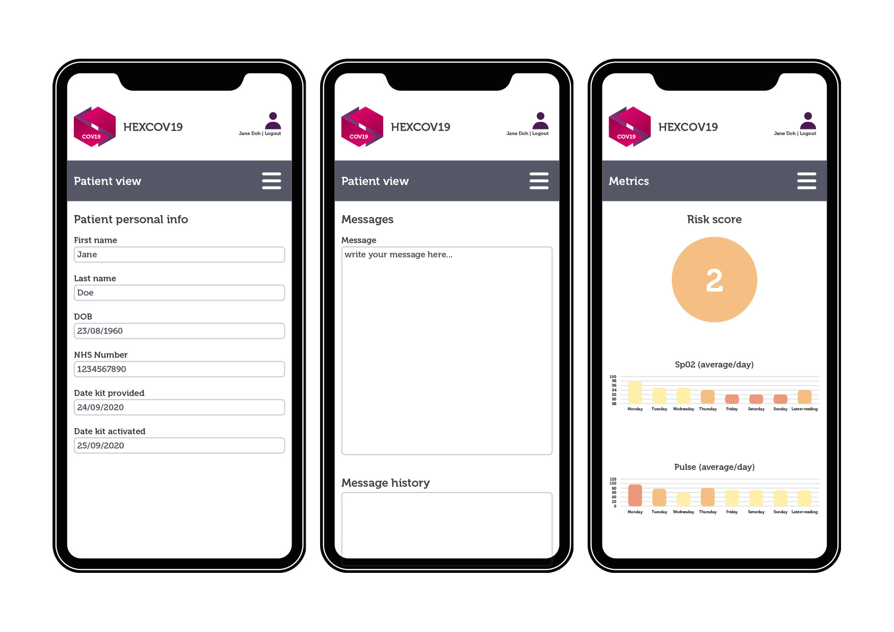 HexCov19 App Concept Design