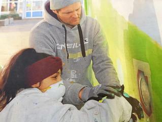 Graffiti-Projekt im Kinder-Jugendtreffpunkt Südstadt.      Kooperation zwischen K+X und          Sta