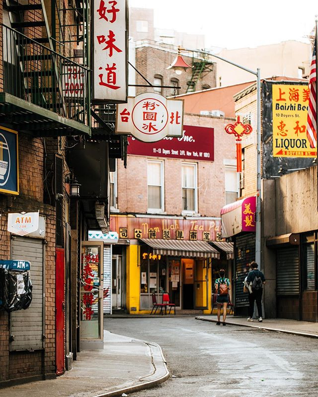 """Doyers Street, Chinatown, Manhattan, New York, June 2020, when most of the restaurants were obliged to work in """"delivery mode"""" only due to Covid19"""